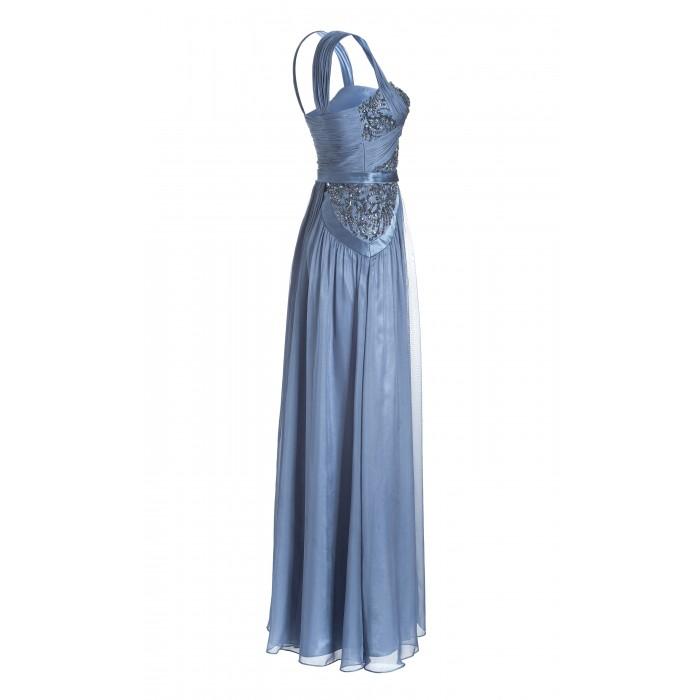 Drapiertes Abendkleid in Blau