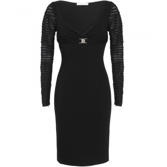 Versace Collection Schwarzes Cocktailkleid mit gestreiften ...