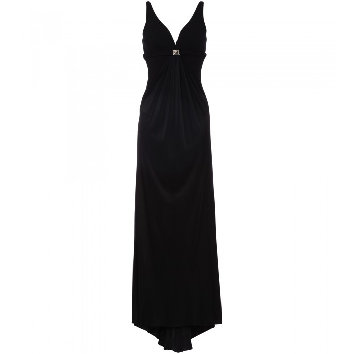 Bodenlanges Body-Kleid in Schwarz