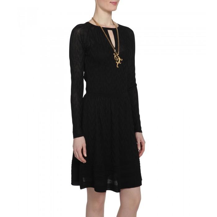 Schwarz gemustertets Kleid mit Cut-Outs