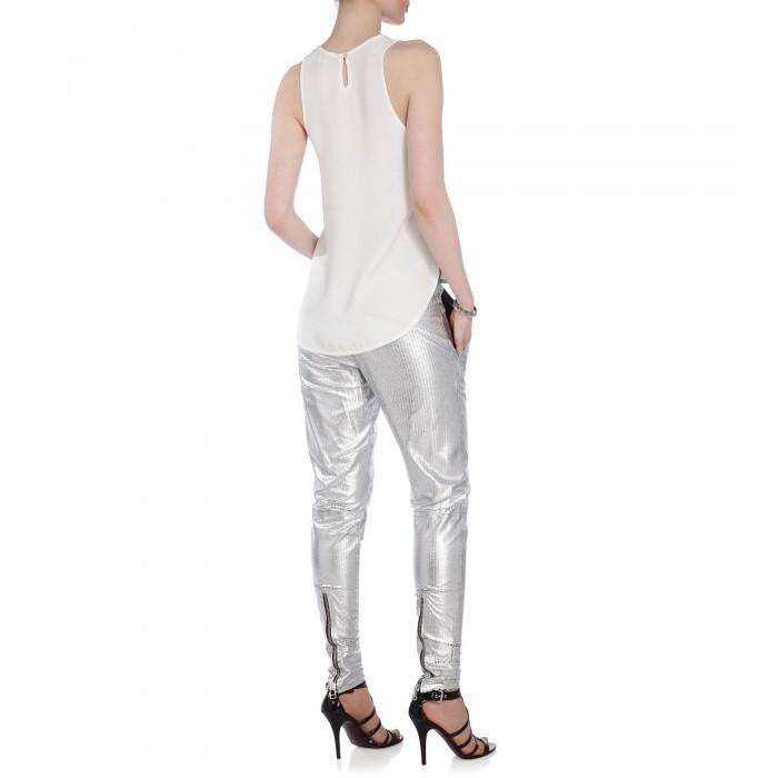 Strukturierte Lederhose in Silber