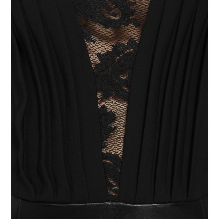 Minikleid aus Leder mit Spitze