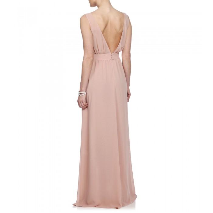 Bodenlanges Kleid mit bestickter Schärpe