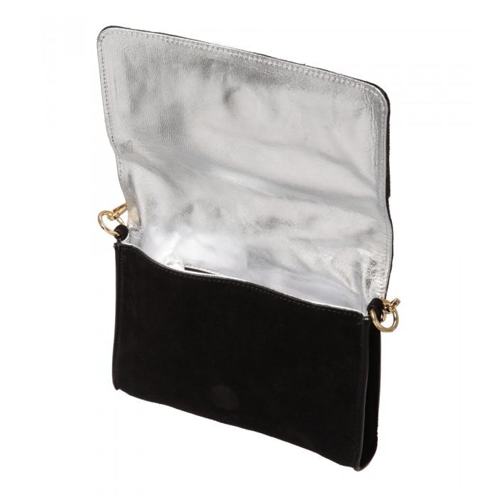 Schwarze Abendtasche mit Gliederkette