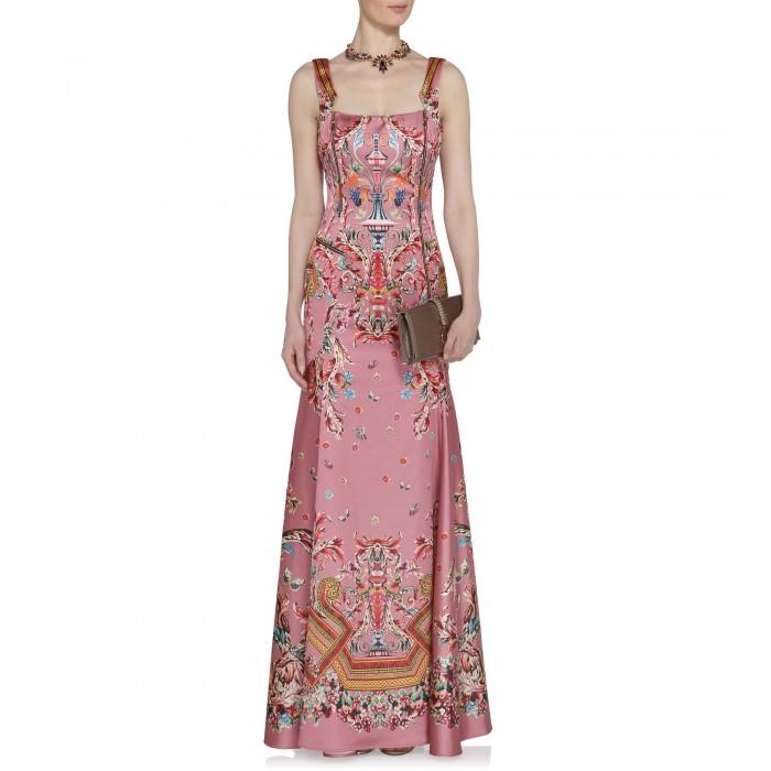 Langes Abendkleid mit extravagantem Muster