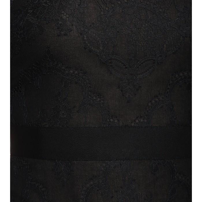 Schwarzes Federkleid mit Spitzeneinsätzen