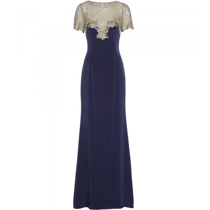 Abendkleid aus Stretch-Seide mit Stickerei in Blau