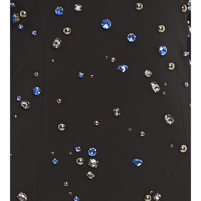 Schwarzes Minikleid mit Schmucksteinen