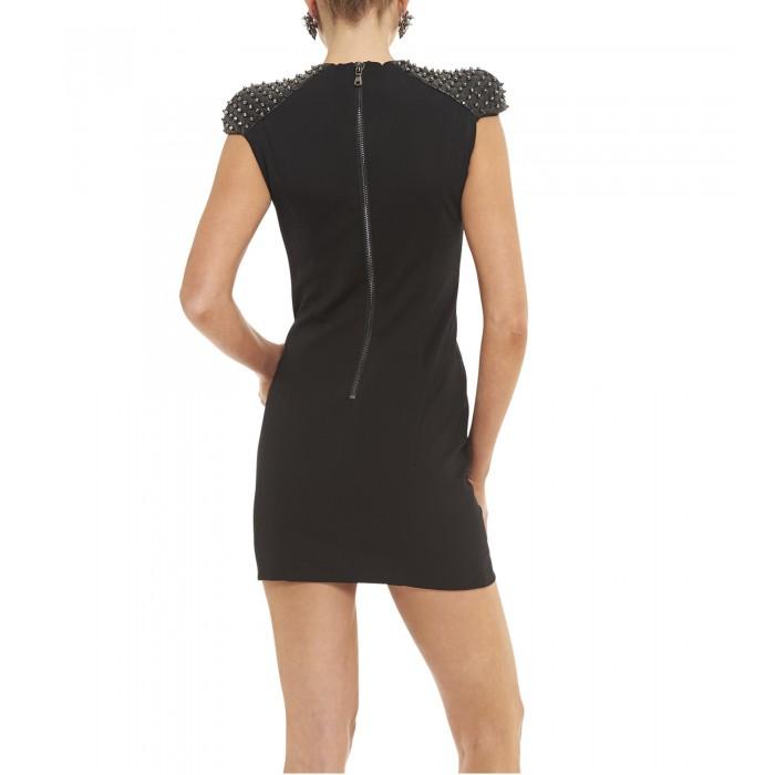 Jerseykleid mit Lederschultern und Nieten