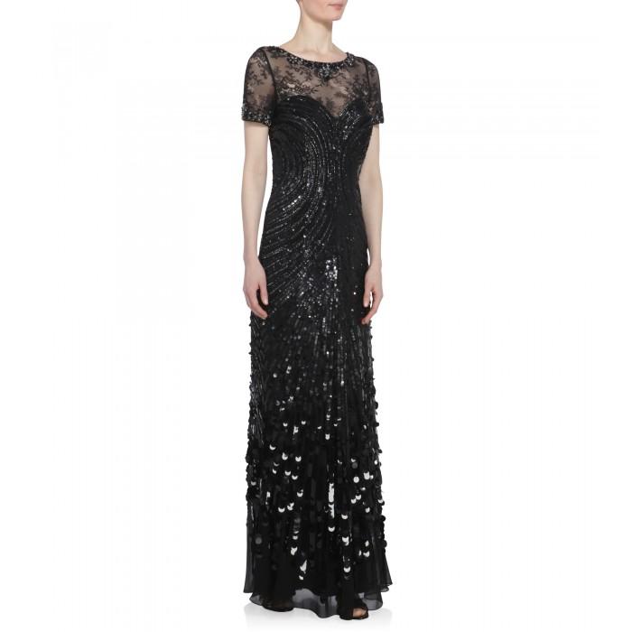 Schwarzes Abendkleid mit Spitze und Stickereien