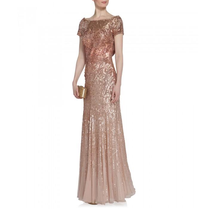 Abendkleid mit Verlaufstickerei in Rosa
