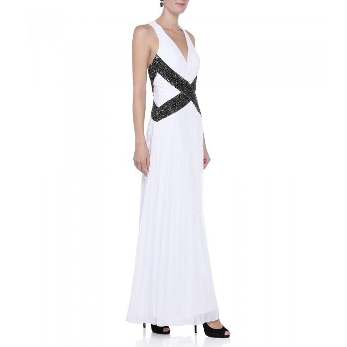 Abendkleid mit Applikation in Schwarz-Weiß