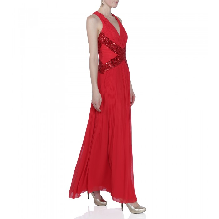 Abendkleid mit Applikation in Rot