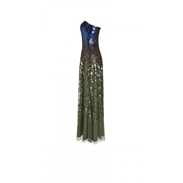 Bodenlanges Abendkleid mit Paillettenverlauf