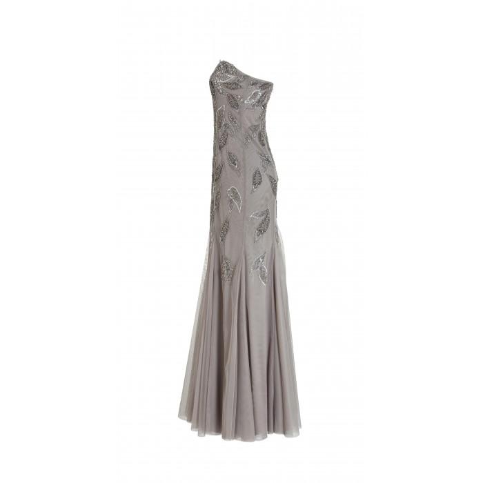 Langes Bustierkleid mit Blätterstickerei aus Tüll in Grau