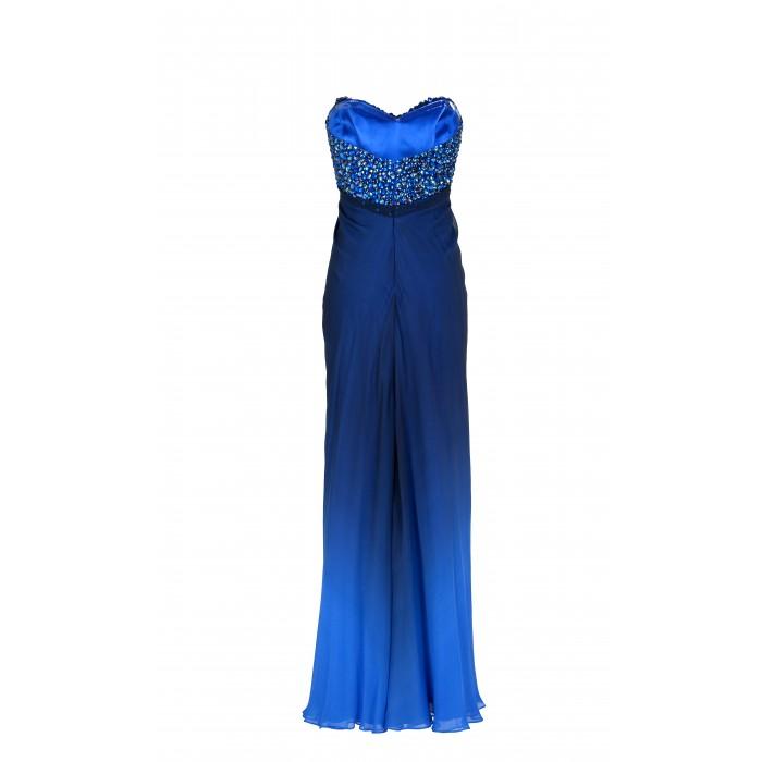 Kleid mit besticktem Bustier in Blau