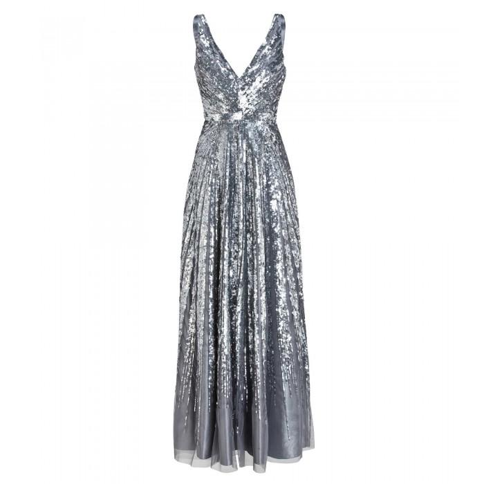 Trägerkleid mit Paillettenverlauf in Silber