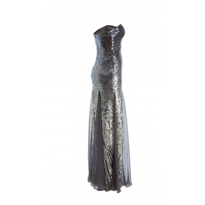 Bodenlanges Bustierkleid mit Pailletten in Silber