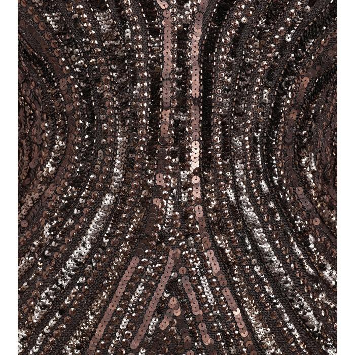 Maxikleid aus Pailletten mit Rückendekolleté in Braun