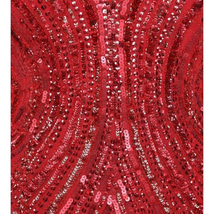 Maxikleid aus Pailletten mit Rückendekolleté in Rot
