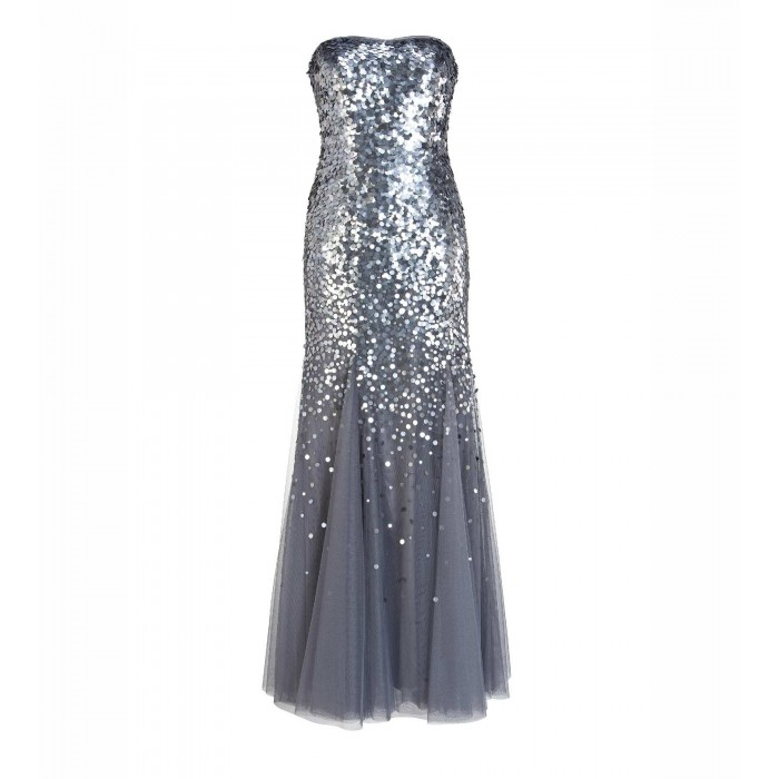 Abendkleid aus Tüll mit Paillettenbestickung in Silber