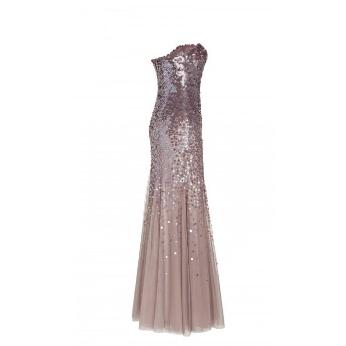 Abendkleid aus Tüll mit Paillettenbestickung in Rosé