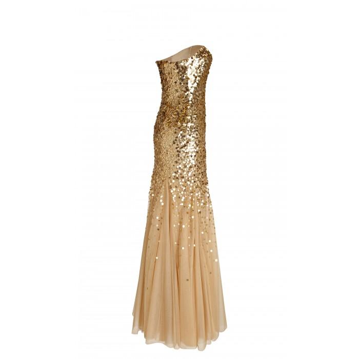 Abendkleid aus Tüll mit Paillettenbestickung in Gold