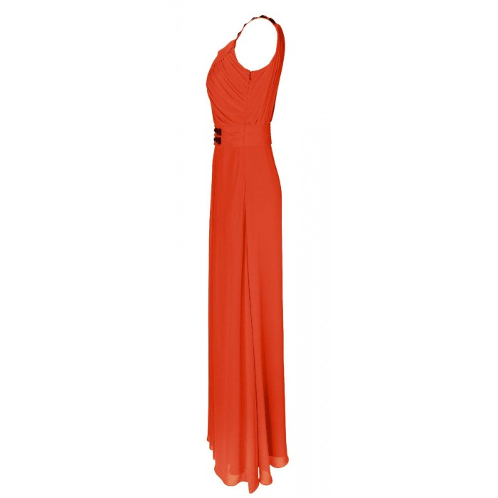 Asymmetrisch gerafftes Maxikleid in Orange