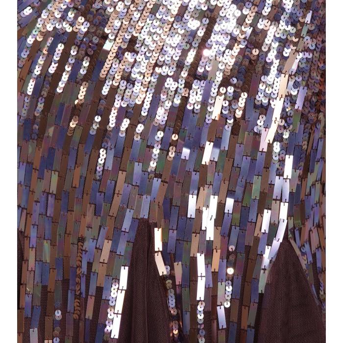 Bodenlanges Bustierkleid mit Paillettenverlauf in Violett