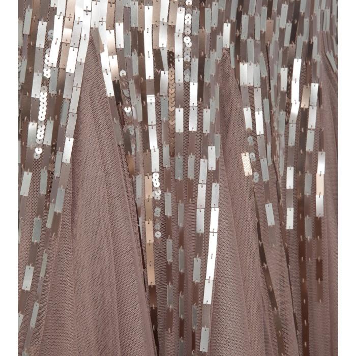 Bodenlanges Bustierkleid mit Paillettenverlauf in Braun