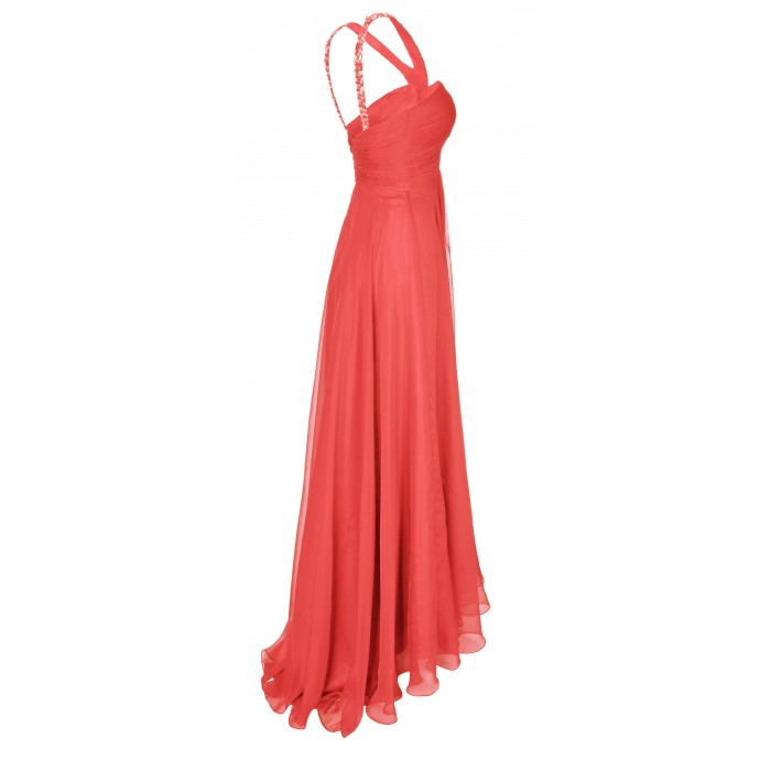 Orientalisches Maxikleid mit Stickerei in Peach
