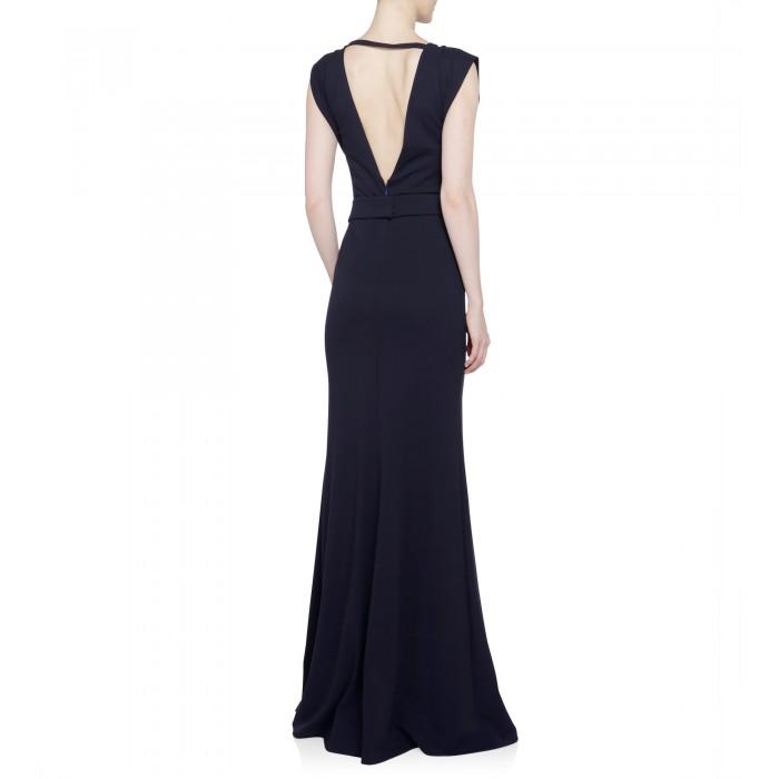 Stilvolles Abendkleid in Nachtblau mit Glitzergürtel