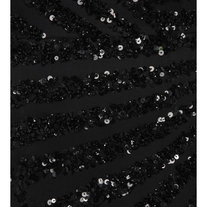 Gestreiftes Bustierkleid mit Pailletten in Schwarz