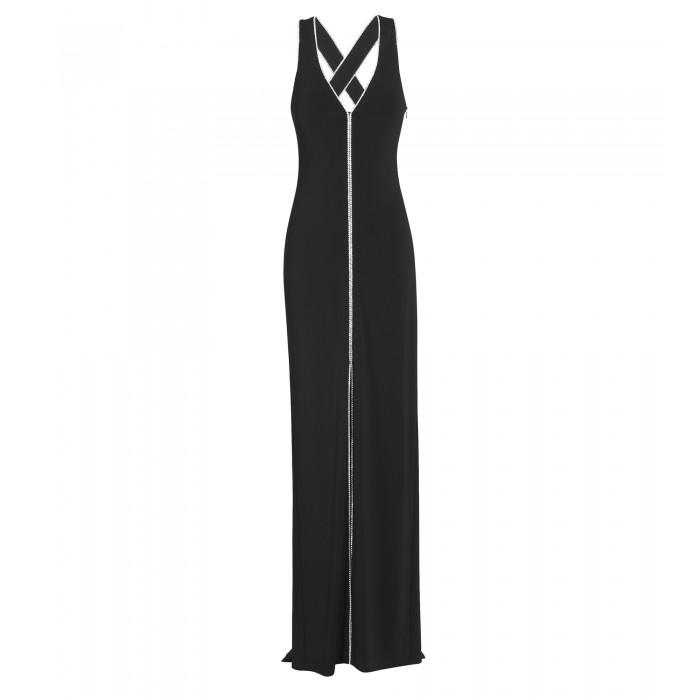 Kleid mit Swarovski-Applikation in Schwarz