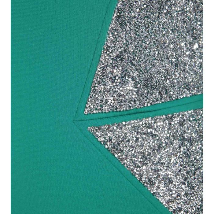 Robe mit edlen Swarovski Applikationen in Grün