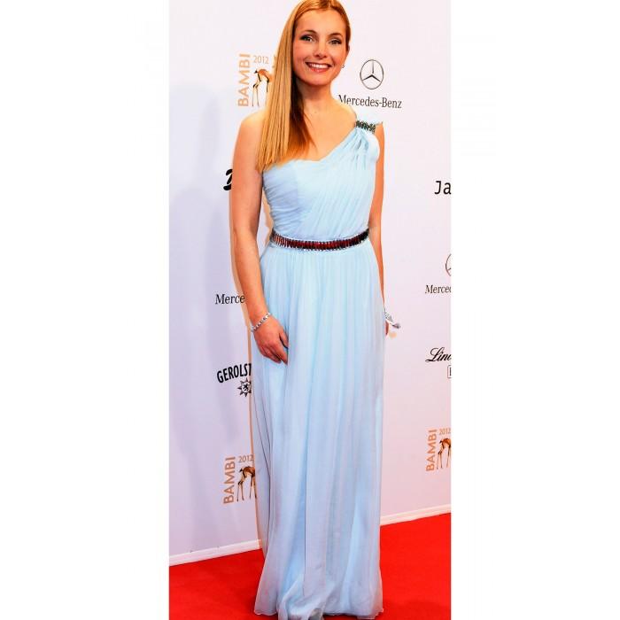 Asymmetrisches Kleid aus Seide in Hellblau
