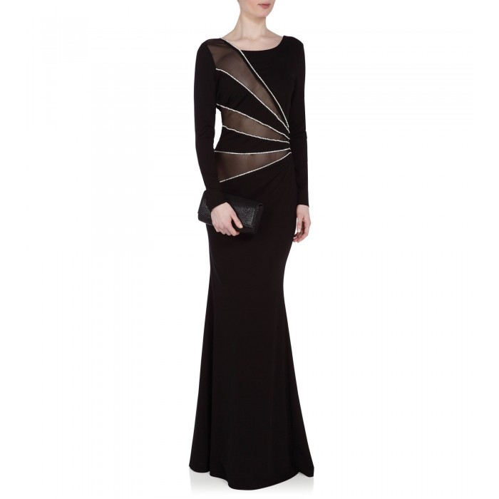 Abendrobe mit Cut-Outs in Schwarz