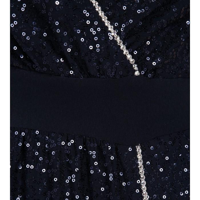 Blaues Abendkleid mit Swarovski-Applikation
