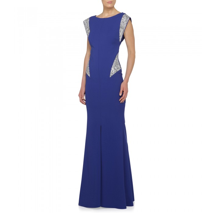Kleid in Royalblau mit Crystal-Rocks
