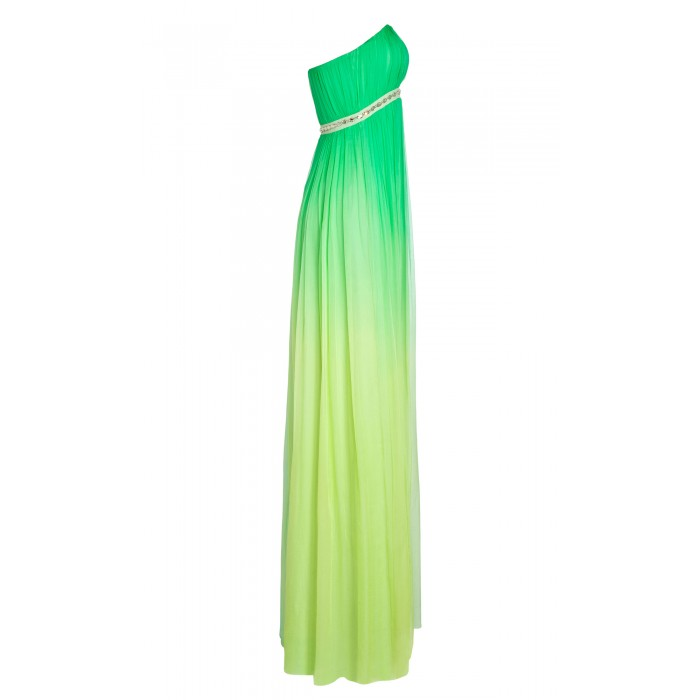 Bustier-Maxikleid aus Seide mit Farbverlauf in Grün