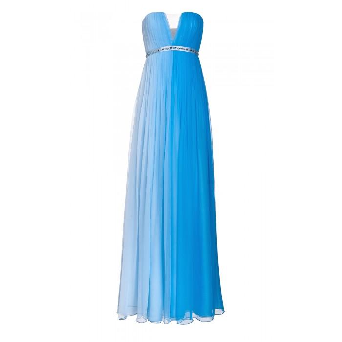 Bustier-Maxikleid aus Seide mit Farbverlauf in Blau