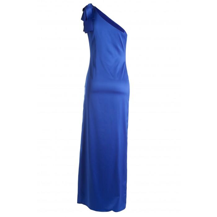 Asymmetrisches Abendkleid mit Zierschleife in Blau