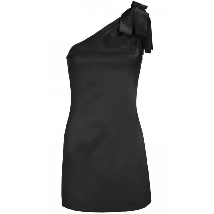 Asymmetrisches Minikleid mit Zierschleife in Schwarz