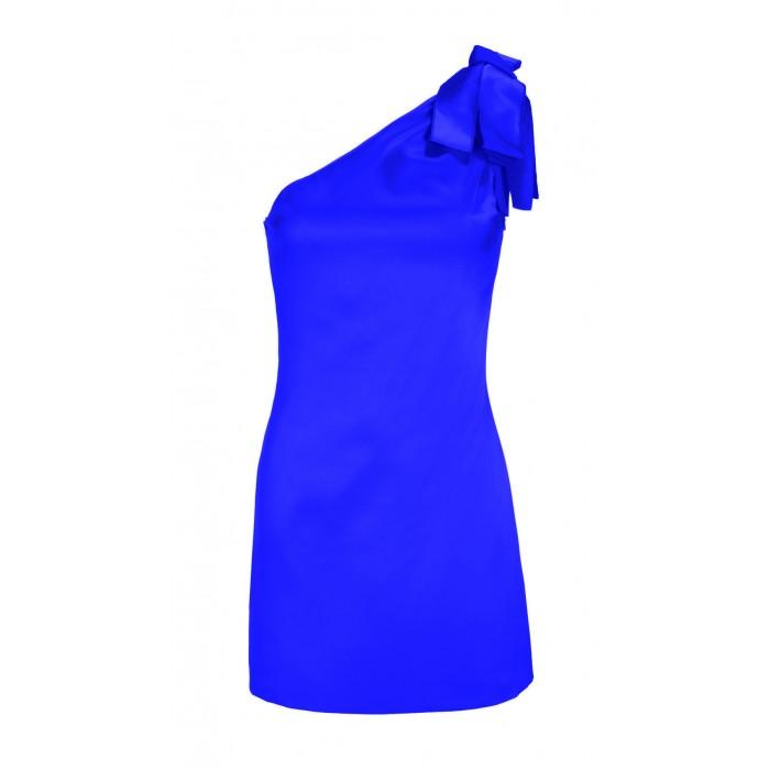Asymmetrisches Minikleid mit Zierschleife in Blau