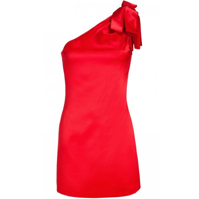 Asymmetrisches Minikleid mit Zierschleife in Rot