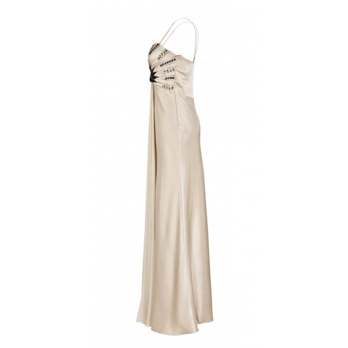 Träger-Abendkleid mit Kontrast-Applikation