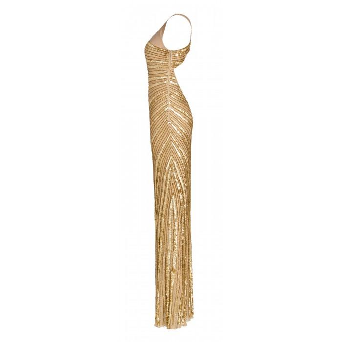 Asymmetrisches Abendkleid in Gold
