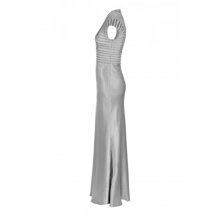 Abendkleid mit Stehkragen in Silber