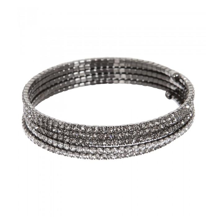 Spiralen-Armband mit Farbverlauf in Silber