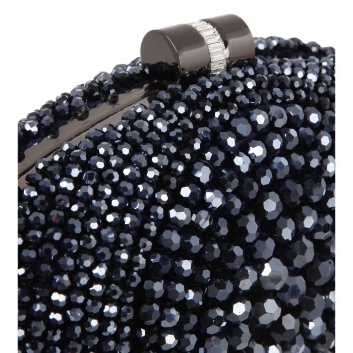Clutch mit glänzenden Perlen in Blau